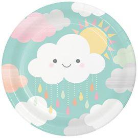 8 Pratos Nuvens 23 cm