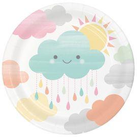 8 Pratos Nuvens 18 cm