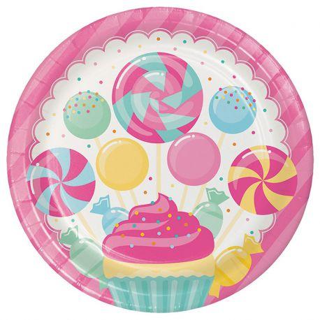 8 Platos Candy 23 cm