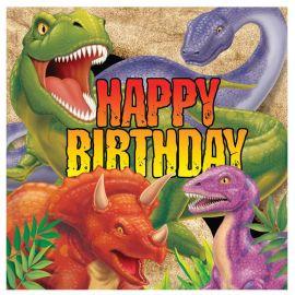 16 Servilletas Dinosaurios Happy Birhtday 33 cm