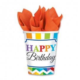 8 Vasos Happy Birthday Colorines