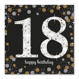 16 Servilletas 18 cumpleaños Elegant 33 cm