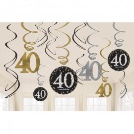 12 Decorativos Pendentes 40 anos Elegant