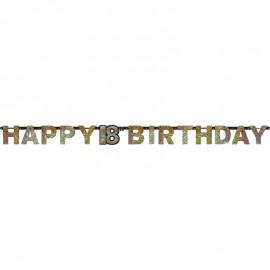 Pancarta Happy Birthday 18 cumpleaños Gold