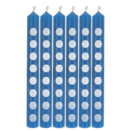 6 Velas Azul con Puntos 6 cm