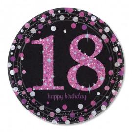 8 Platos 18 cumpleaños Pink Elegant 23 cm