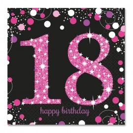 16 Guardanapos 18 anos Elegant Pink 33 cm