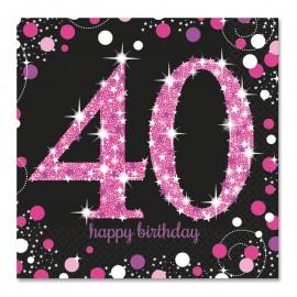 16 Guardanapos 40 anos Elegant Pink 33 cm