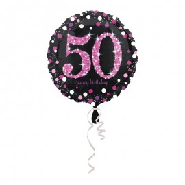 Balão Foil 50 anos Elegant Pink 43 cm