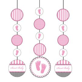 3 Decorativos Pendentes Sweet Baby Feet Pink
