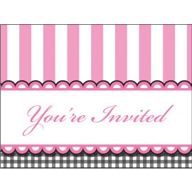 8 Convites Sweet Baby Feet Pink
