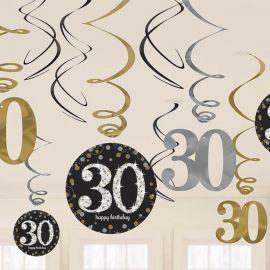 12 Decorativos Pendentes 30 anos Elegant