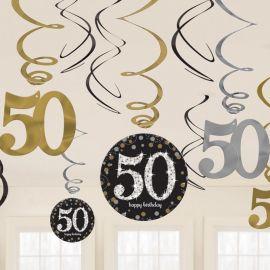 12 Decorativos Pendentes 50 anos Elegant