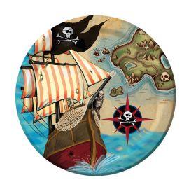 8 Pratos Barco Pirata 18 cm