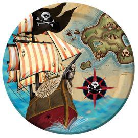 8 Pratos Barco Pirata 23 cm
