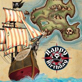 16 Guardanapos Barco Pirata Happy Birthday 33 cm