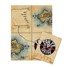 8 Convites Barco Pirata