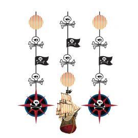 3 Decorativos Pendentes Barco Pirata 91 cm