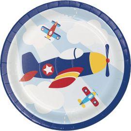 8 Pratos Aviãozinhos 18 cm