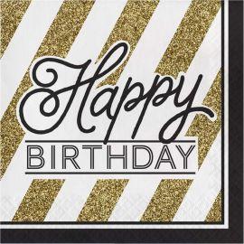 16 Guardanapos Negro y Ouro Happy Birthday 33 cm