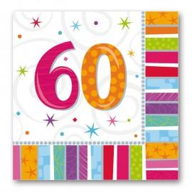 16 Servilletas Radiant 60 años 33 cm