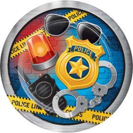 8 Pratos Policia 23 cm