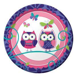 8 Pratos Owl Pal Birthday 18 cm