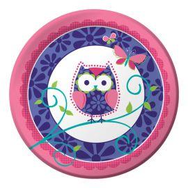 8 Pratos Owl Pal Birthday 23 cm