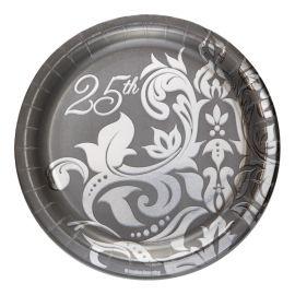 18 Platos Bodas de Plata 18 cm