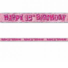 Cartell Happy Birthday 18 Años Rosa Glitz
