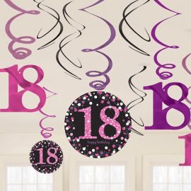 12 Decorativos Pendentes 18 anos Elegant Pink