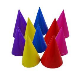 8 Chapéus forma Cone Várias Cores
