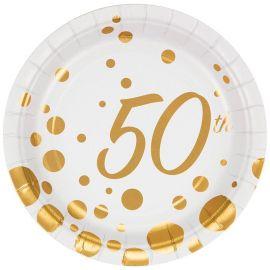 8 Platos 50 Aniversario 18 cm