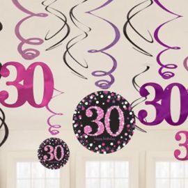 12 Decorativos Pendentes 30 anos Elegant Pink