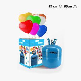 Garrafa de Hélio Pequena com 30 Balões Coração