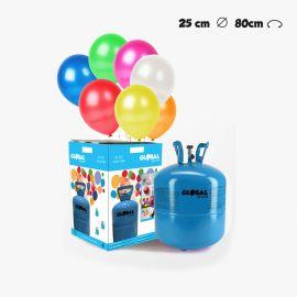 Garrafa de Hélio Pequena com 30 Balões Metalizados