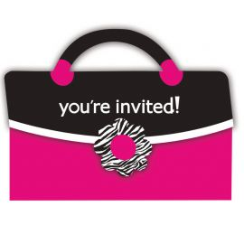 8 Convites Pink Zebra Bolsito