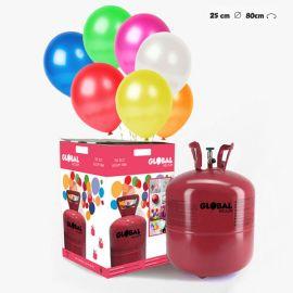 Garrafa de Hélio Grande com 50 Balões Metalizados