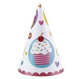 6 Gorros Cupcake forma Cono