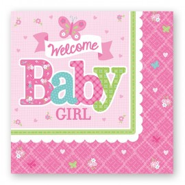 16 Servilletas Welcome Baby Girl 33 cm