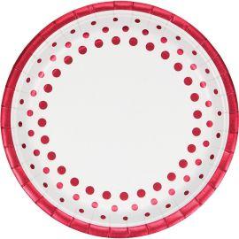 8 Pratos Sparkle and Shine Red 23 cm