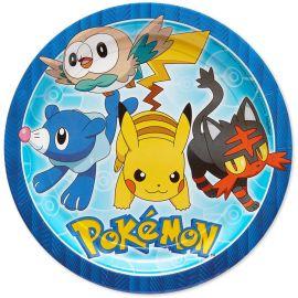 8 Pratos Pokémon de Papel 23 cm