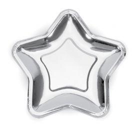 6 Pratos de Papel de Estrela 18 cm