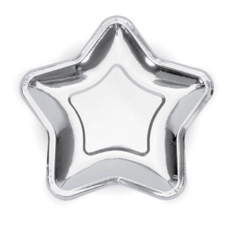 6 Platos de Papel de Estrella 18 cm