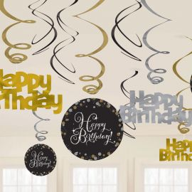 12 Decorativos Pendentes Happy Birthday Elegant