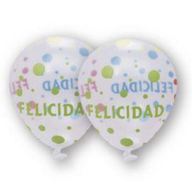 6 Balões Transparentes Felicidades 30 cm