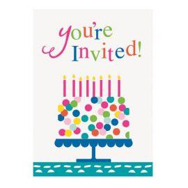 8 Convites Bolo com Confetes