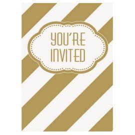 8 Convites Listras Douradas