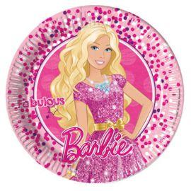 8 Pratos Barbie de Papel Cartão 23 cm