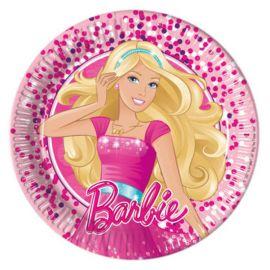 8 Pratos Barbie de Papel Cartão 20 cm